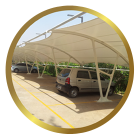PVC Coated Tensile Car Parking Shades Manufacturer, Supplier, Exporter Mumbai-India