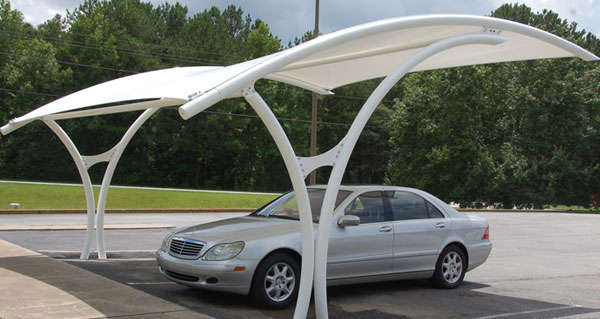 Tensile Membrane for Car Shades & PVC Coated Fabrics Tensile Membrane Structures for Car Shades